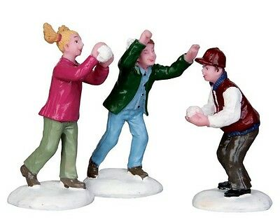 New Lemax Figurines Snowball Fight Set Of 3 Polyresin 2014