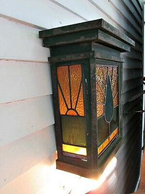 Vintage ARTS & CRAFTS Wall LIGHT,SCONCE,Metal & LEADED GLASS Tulip DESIGN,16x14""