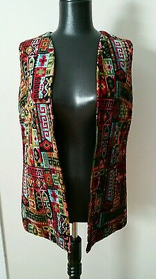 VINTAGE MULTICOLORED CARPET TAPESTRY VEST BOHO, HIPPY 70s UNISEX