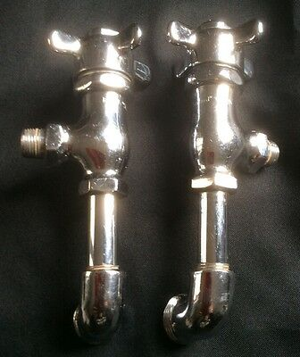 Pair Vintage Nickel Plated Brass c1930 Standard Re-Nu Self Closing Sink Valves