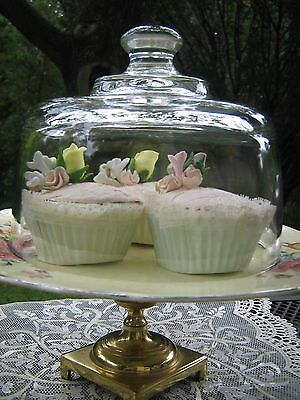 GLASS DOME Cake Lid Butter Cheese Cloche Bell Jar