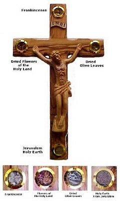 "20"" Holy Land Israel Handcarved Olive Wood Holy Lens Jesus Crucifix Jerusalem"