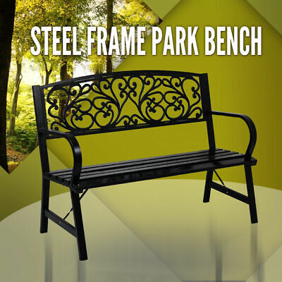 Park Bench Steel Frame, Outdoor Garden Seat, Timber Chair Furniture Black