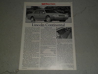 1988 LINCOLN CONTINEMTAL HYUNDAI EXCEL article / ad