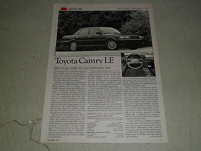 1987 TOYOTA CAMRY LE article / ad