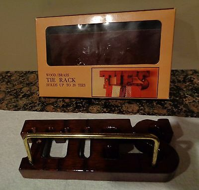 Vintage Wood Wall Tie Rack Organizer with Brass Holds 20 Ties Bar by Sears 7 x 3