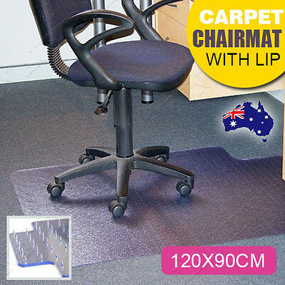 Chair Mat for Carpet Floors PVC 5mm Thick Rectangular with Lip Clear 120*90cm