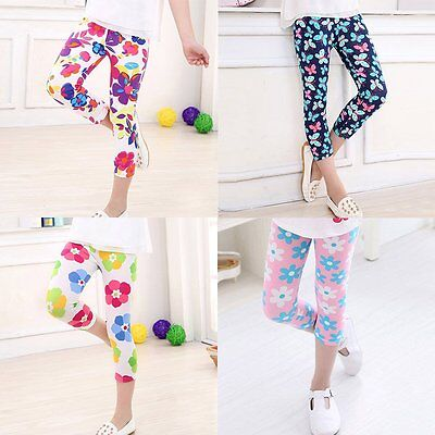 1-7Y Baby Kids Girls Leggings Pants Child Floral Flower Printed Elastic Trousers