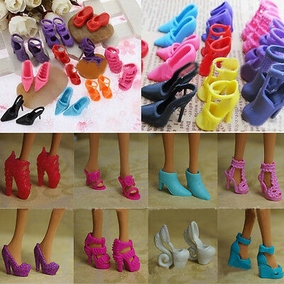 10 Pairs Mini DIY Wedding Gown Princess High Heel Shoes Sandals For Barbie Doll