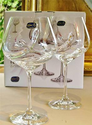 """Contemporary Bohemia Crystal """"Swirl"""" wine glasses. Pair Boxed. NEW"""