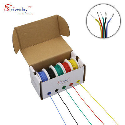 50m/box 30AWG Silicone rubber Wire 5 colors Electrical Wire Tinned Copper line