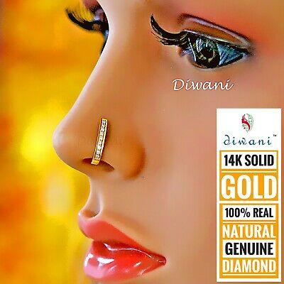 Gold Plated Hoop Indian Nose Ringnose Stud With Diamonds 185