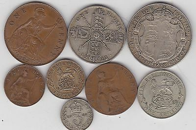 1922 George V Set Of 8 Coins In Good Fine Or Better Condition