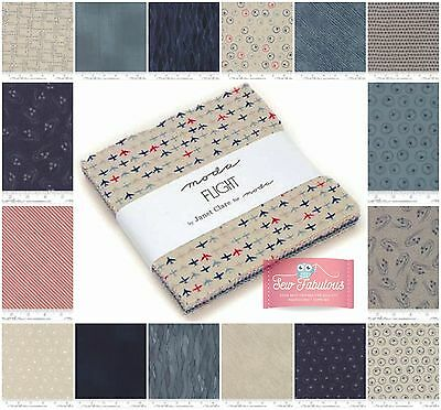 """Moda Charm Pack 42 of 5"""" Fabric squares in the 'Flight' Collection 100% Cotton"""