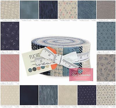 "Moda Jelly Roll, 42 of 2.5"" x 42"""" Fabric strips 'Flight' Collection 100% Cotton"