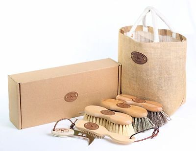 Borstiq - Shaped Grooming Kit - 5 Pieces - Wooden Backed Quality Natural Brushes
