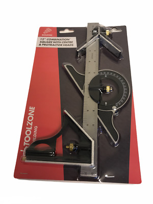 "300mm 12"" Combination Square & Protractor Angle Finder Measuring Tool Builders"