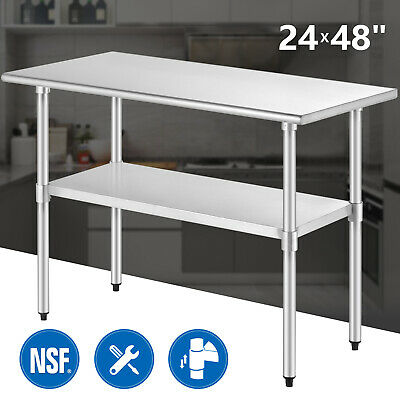 """24"""" x 48"""" Commercial Stainless Steel Work Prep Table Food Kitchen Restaurant"""