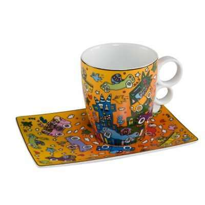 James Rizzi Pop Art Tasse mit Unterteller NOT GETTING AROUND Goebel Porzellan
