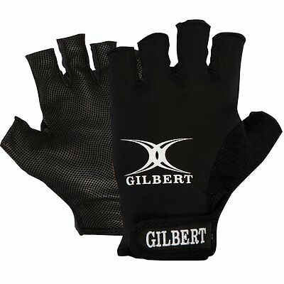 Mens Medium GILBERT Synergie Rugby Gloves Fingerless Grip Mitts Adult BLACK