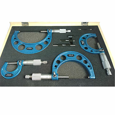 4pc Micrometer Set. External Outer Metric measuring 0 to 100mm with Ratchet Stop