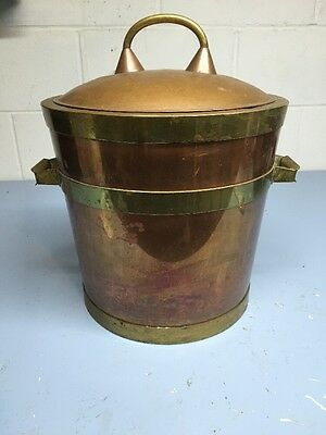 Vintage Copper And Brass Ice Bucket Insulated Stainless Steel Interior Heavy