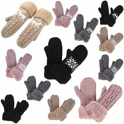 Womens Ladies Winter Wool Blend Thick Mittens Knitted Warm Wrist Full Gloves