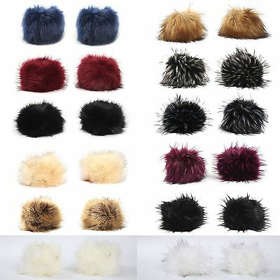 Womens Winter Faux Fox Fur Hair Soft Wrist Band Ring Cuff Arm Warmer Gloves