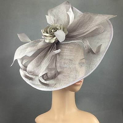 NEW Church Kentucky Derby Steel color Fascinator Dress Wedding Tea Party