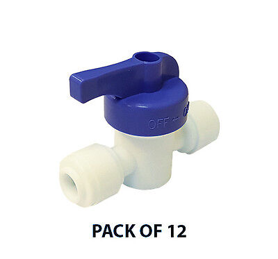 """1/4"""" x 1/4"""" John Guest-Style Quick Connect Recoil Ball Valve, Pack of 12"""
