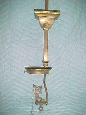 Antique Brass Mission/Arts & Crafts Single Light Gas Ceiling Fixture.