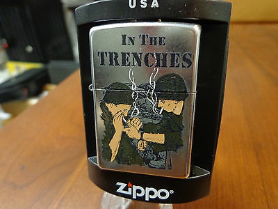 Zippo In The Trenches Wwii Rare Zippo Lighter Mint In Box 2004