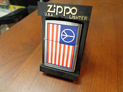 Peace Flag Usa Trevco Zippo Lighter Mint In Box 1999
