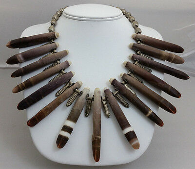 Tribal African Sea Urchin Spine Bead & Ethiopian Silver Phallus Pendant Necklace