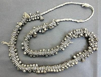Vintage Tribal African Nigerian Yoruba White Metal Beaded Necklace - Rare Beads