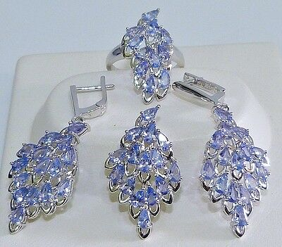 GENUINE 10.64tcw Tanzanite Cluster Set Ring/Earrings/Pendant, Solid S/Silver 925