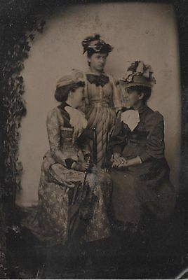 Antique Tintype Photograph of 3 Young Well Dressed Woman Posing for Portrait