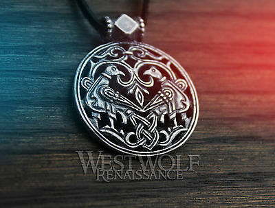 Viking Round Knotted Birds Pendant - 925 Silver -- Ravens/Doves/Medieval/Celtic