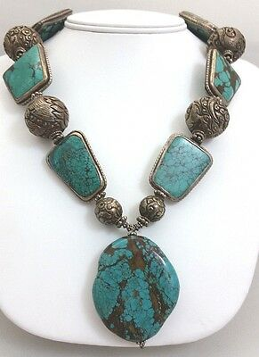 Tibetan Turquoise Pendant, Silver/Turquoise, & Nepalese Repousse Beaded Necklace