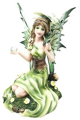 "7"" Height Sitting Green Fairy with Pet Dragon Figurine Fantasy Magical Realm"