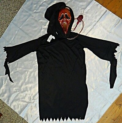 Phantom Costume robe w/Hood size up to 8 and scream mask blood tubes/Heart Pump