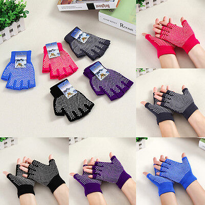 Women Non-slip Fingerless Gym Fitness Workout Cycling Yoga Pilates Grip Gloves