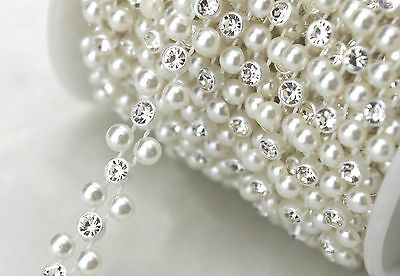 8mm 2 Rows Ivory Pearl And Rhinestone Chain Sewing Trims Cake Decoration LZ118