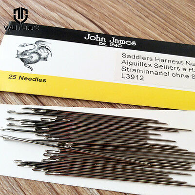 25 John James Saddlers Harness Needles Leather Hand Sewing Blunt 7 Size
