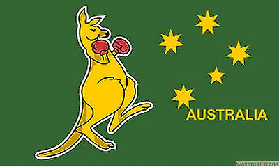 "BOXING KANGAROO AUSTRALIA 18"" x 12"" FLAG suitable for Boats Caravans AUSTRALIAN"