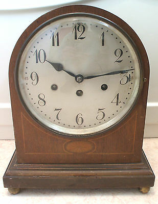 Junghans Wurtenberg German Inlaid Mahogany Case Westminster Chimes Mantle Clock