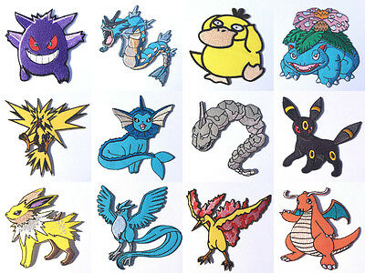 Pokemon GO Patches Embroidered Iron / Sew on Badges Costume Cosplay Aufnäher NEW