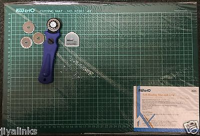 3 IN 1 KW-triO 28mm Rotary Cutter + 3 BLADE + A3 Self Healing Grid Cutting Mat