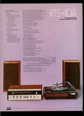 Rare BSR RTS-40A/30 AM FM Stereo Receiver Turntable Dealer Sheet Page