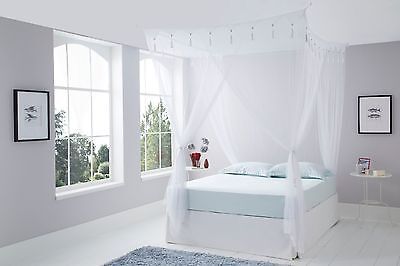 Deluxe DOUBLE Size WHITE Mosquito Net Bedroom Canopy - Four Poster Bed Look
